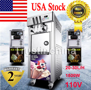 Bql 7225 Commercial Soft Serve Ice Cream Freezer Machine 20 30l h With 3 Flavors