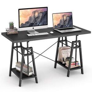 Height Adjustable Computer Desk Spacious Desktop Office Table With 2 Shelves Oy
