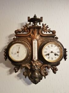 Antique French France Wood Carved Barometer Clock Thermometer End Xix S Bronze