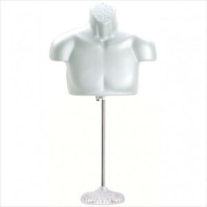 New Male Torso Mannequin Form White W Acrylic Base