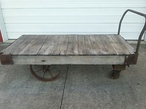 Antique Original Railroad Factory Industrial Cart Steampunk Steel Wheels