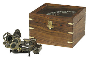Authentic Models Sextant In Case Maritime Nautical Compass Antique Reproduction