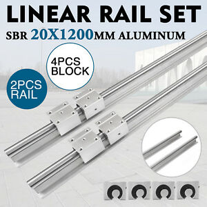 Sbr20 1200mm Linear Slide Guide Shaft 2 Rail 4 Sbr20uu Bearing Block Cnc Set