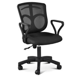 Black Executive Ergonomic Mesh Computer Office Desk Task Midback Chair W Hanger