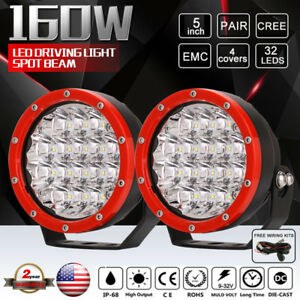2x Red Round 160w 5inch Cree Led Driving Spot Light Work 4wd Offroad Hid Suv 4x4