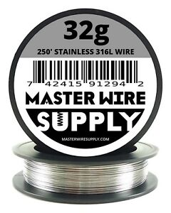 Mws Ss 316l 250 Ft 32 Gauge Awg Stainless Steel Resistance Wire 32g 250