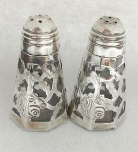Vintage Mexico Sterling Silver Overlay Glass Salt Pepper Shakers No Monogram