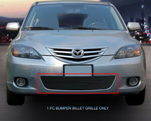 Black Billet Grille Bumper Grill For 2004 2005 2006 Mazda 3 Sport Hatchback