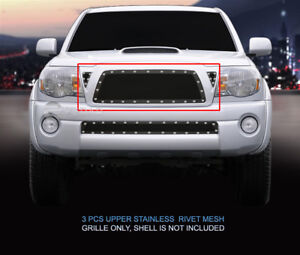 Black Mesh Grille With Rivet Upper Insert For 2005 2010 Toyota Tacoma