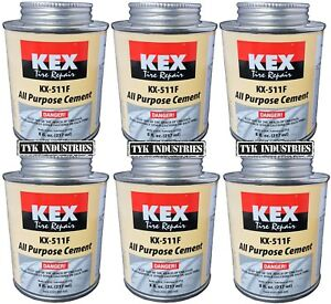 6 Kex Cold Vulcanizing Rubber Tire And Tube Patch Plug Repair Cement 8oz Cans