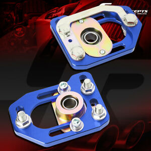 Pair Aluminum Front Adjustable Camber Caster Plates Blue For 79 89 Ford Mustang