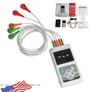 Portable 3 Channel 24h Ecg Ekg Holter Analyze System Recorder Software Monitor