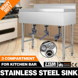Stainless Steel Utility Sink For Commercial Kitchen 37 5 Wide Drainboard