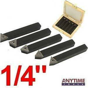 Anytime Tools 5 Piece 1 4 Mini Lathe Indexable Carbide Insert Tool Bit Set New