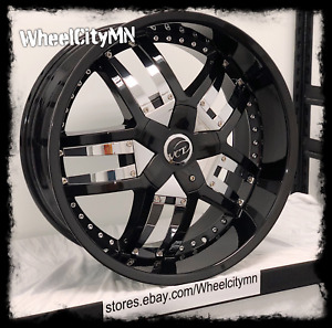 20 Inch Gloss Black Chrome Inserts Vct V64 Lombardi Ford F150 6x135 Gmc 6x5 5