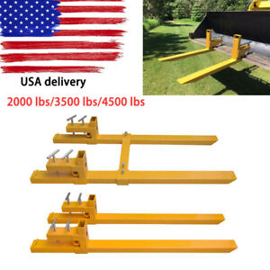 2000lb 3500lb 4500lb Clamp On Pallet Forks Loader Bucket Skidsteer Tractor