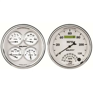 Autometer 1203 Old Tyme White Ii Quad Gauge tach speedo Kit