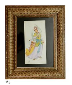 Painting Persian Miniature In Khatam Hand Crafted Frame Theme Omar Khayyam