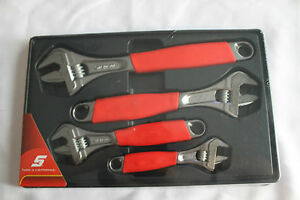 Snap On Tools Adjustable Wrench Set 4pc Flank Drive With Cushion Grips New