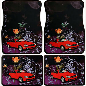 Universal Set 4pcs Car Floor Mats Rubber With Red Convertible Design Flowers