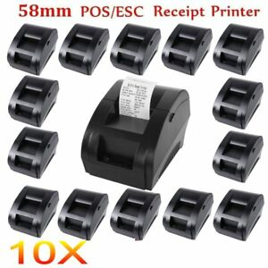 10x Usb Mini 58mm Pos Thermal Dot Receipt Bill Printer Roll Paper Supermarket