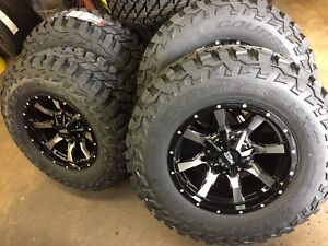 Mo970 17x9 Black Machined Wheels Rims Mt Tires Package 8x6 5 33 Dodge Ram Chevy