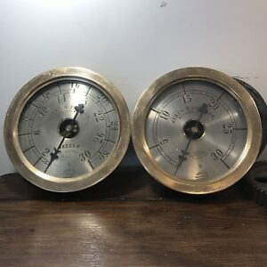 set Of 2 10 Solid Brass American Steam Gauges Antique Vtg James Partlan