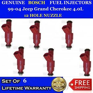 6x 12 Hole Nuzzle Oem Bosch Fuel Injectors For 99 04 Jeep Grand Cherokee 4 0l