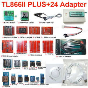 Tl866ii Plus Programmer 24 Adapters ic Clip High Speed Avr Mcu Flash Eprom Pro