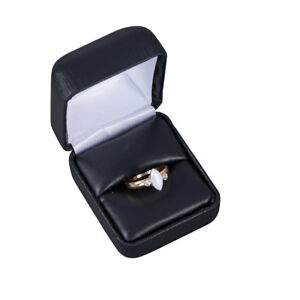 Black Faux Leather Ring Box 50 Pack