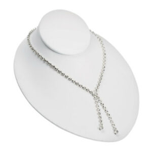 Adjustable White Faux Leather Necklace Bust 10 Pack