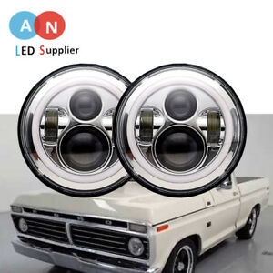 Pair Dot Drl 7 Halo Led Headlight Hi Lo Round Headlamps Of Ford F100 1969 1979