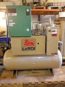 Used 15 Hp Comp Air Leroi Rotary Compressor Tank Mount Open