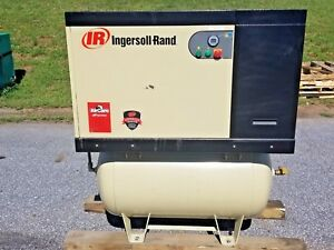 Used 10 Hp Ingersoll Rand Rotary Compressor Tank Mount Enclosed Vsd