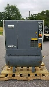Used 10 Hp Atlas Copco Gx 7 W Full Featured W Dryer Rotary Compressor 230 460v
