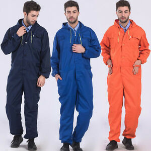 Men s Hooded Coverall Overall Mechanic Protective Work Suits Work Uniform Sbox