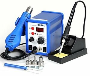2in1 878ad Soldering Iron Rework Station Hot Air Gun Tip 3 Nozzles Heat New