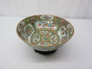 Antique Hand Painted Chinese Rose Medallion Porcelain Bowl With Wooden Stand