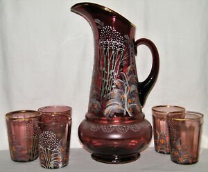 Antique Victorian Hand Painted Amethyst Art Glass Pitcher 5 Tumblers Purple