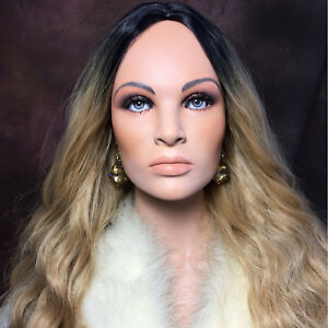 Jlo Latino Mannequin Realistic Head Bust Jewelry Hat Wig Display Glass Eye Vtg