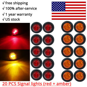20x Red Amber 3 4 Led Round Marker Bullet Turn Light Trailer Hazard Beacon