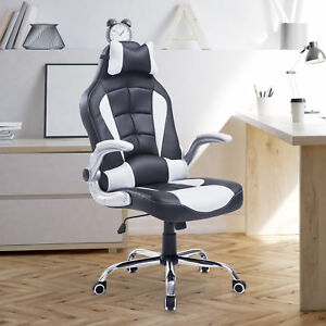 Race Car Office Chair Swivel Exacutive Faux Leather Computer Gaming Seat