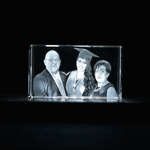 3d Laser Crystal Glass Personalized Etched Engrave Gift Portrait Medium Cube