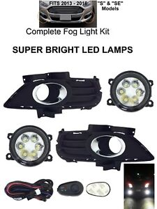 New Bright Led Fog Lights Lamps Kit For 2013 16 Ford Fusion S Se 3m Harness