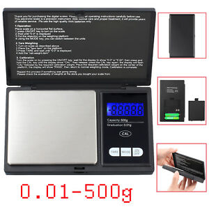 Digital Electronic Pocket Scale Gauge Weighing 0.01-500g Silver Jewelry Powder