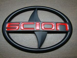 Scion Matte Black Red Front Rear Emblem Badge Decal 3m Back Frs Tc Xa Xb Xd