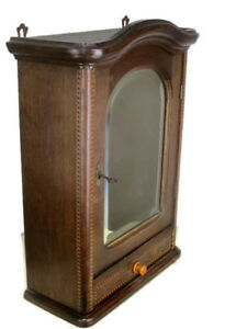 Vintage Oak Inlay Kitchen Apothecary Wall Cabinet Beveled Glass Mirror Gorgeous