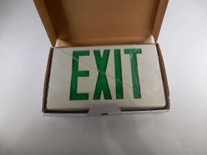 Lot Of 2 Green Led Single double Sided Exit Sign Battery Backup