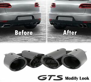 Gloss Black Exhaust Tips For Porsche Macan 2 0t Base Gts Look Upgrade