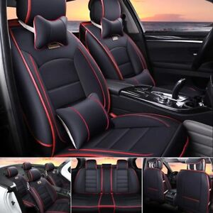 5 seats Black red Seat Cover Fit For Universal Car Suv Front back Cushion pillow